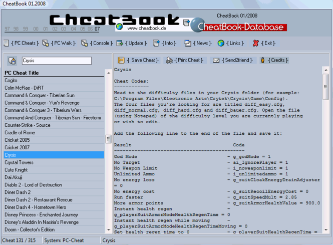 CheatBook Issue 01/2008 Screenshot