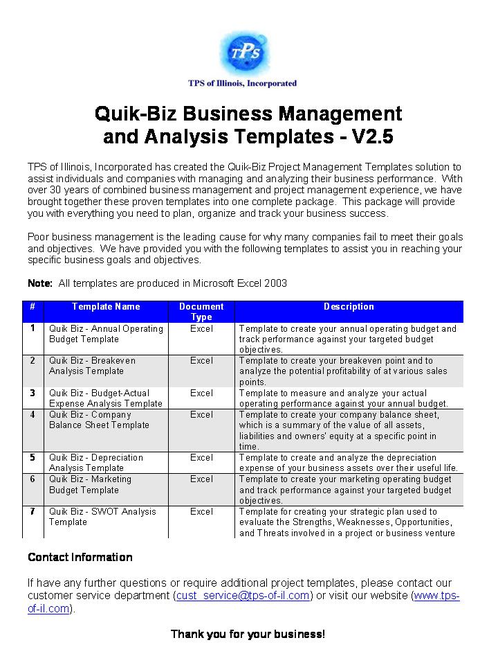 Quik-Biz Bus Mngmnt & Analysis Templates Screenshot