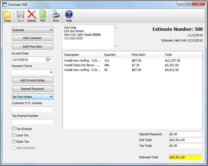 Bid-n-Invoice Standard Invoice Screenshot