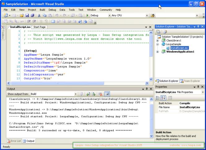 Lexpa InnoSetup for VS2005 Screenshot 1