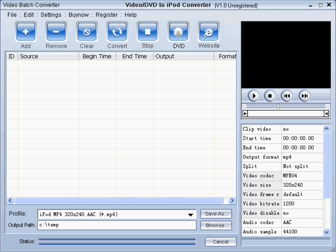 Video DVD To iPod Converter Screenshot 1
