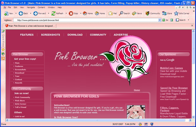 Pink Browser Screenshot 1