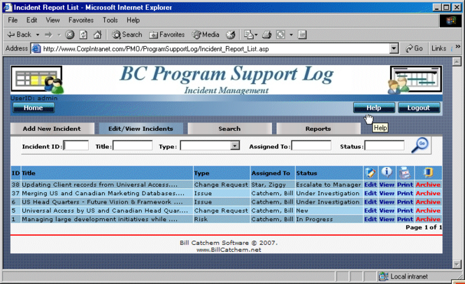 BC Program Support Log Screenshot