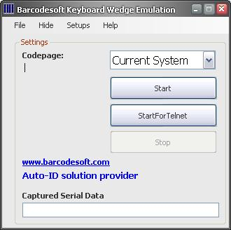 Barcodesoft Keyboard Wedge Emulation Screenshot