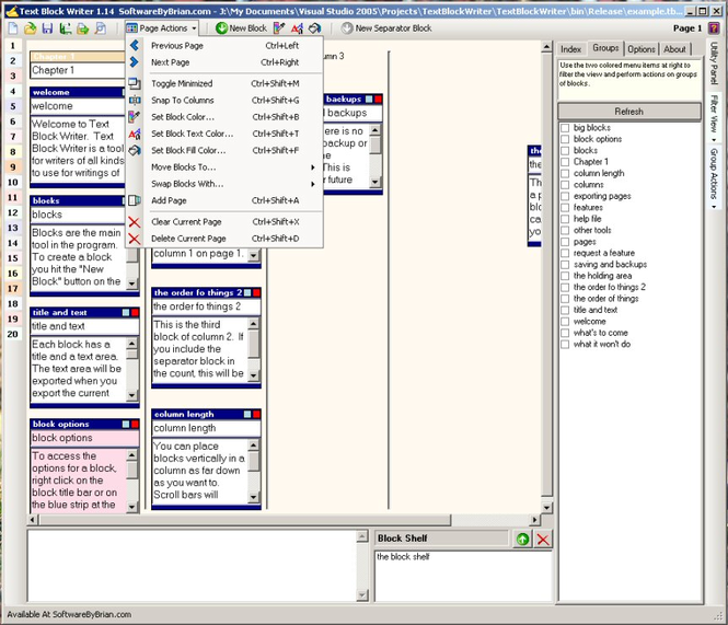 Text block Writer Screenshot