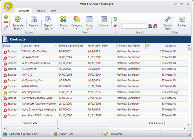 Mini Contract Manager Screenshot