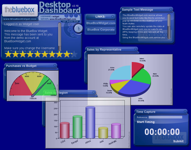 The BlueBox Business Widget Screenshot