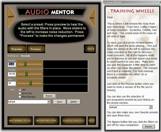 Audio Mentor Noise Reduction Software Screenshot