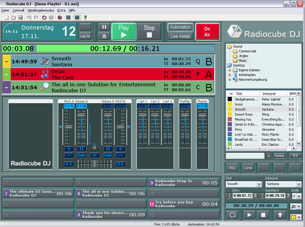 Radiocube - Radio Automation DJ Software Screenshot