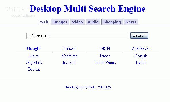 Desktop Multi Search Engine Screenshot