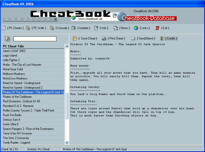 CheatBook Issue 09/2006 Screenshot 1