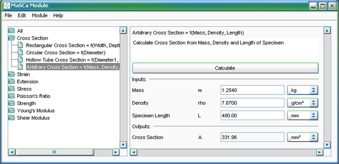 MaSCa Module for admaDIC Calculator Screenshot