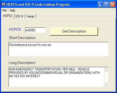 HCPCS, ICD-9 Code Lookup Screenshot 1