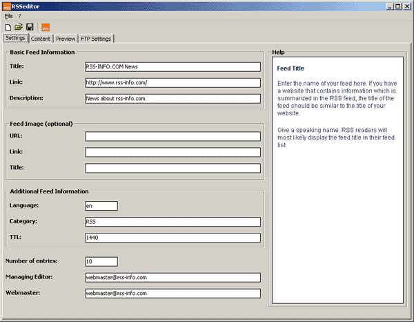 RSSeditor Screenshot