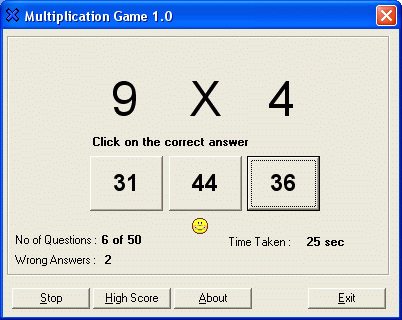 Multiplication Game Screenshot