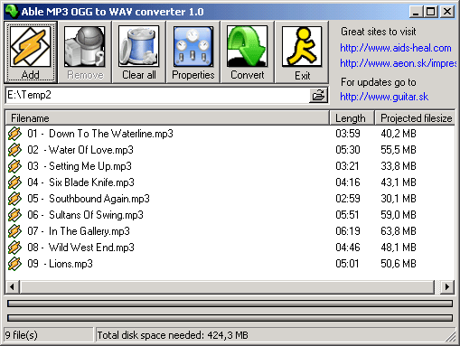 Able MP3 OGG to WAV converter Screenshot