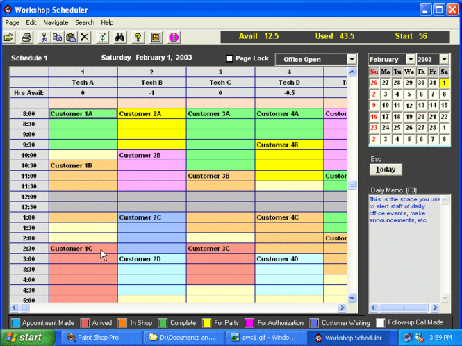 Automotive Workshop Scheduler Single-Use Screenshot