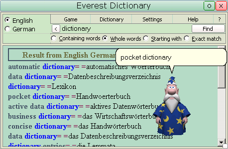 Everest Dictionary with databases Screenshot 2