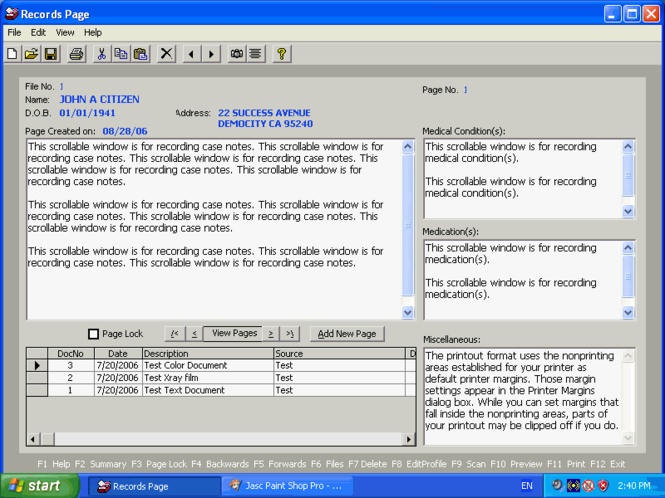 Practice Records Manager Screenshot