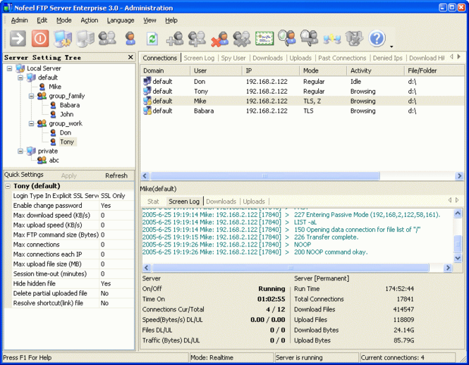 Nofeel FTP Server Screenshot