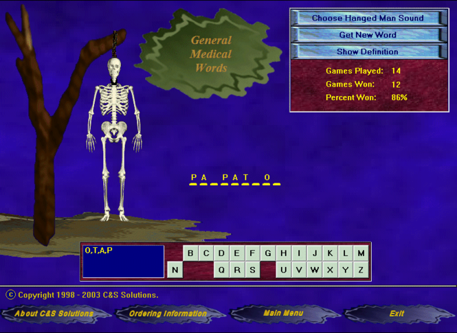 HangMan for Medical Personnel Screenshot