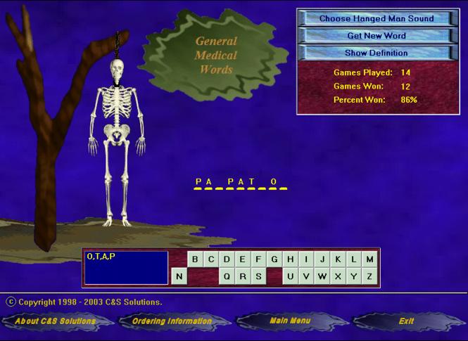 HangMan for Medical Personnel Screenshot 1