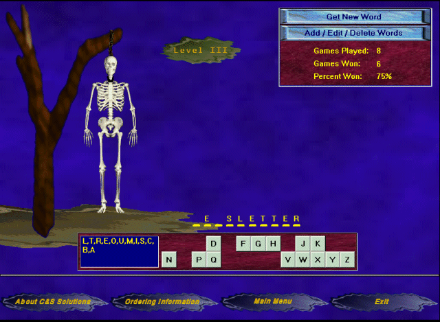 HangMan for Windows Screenshot