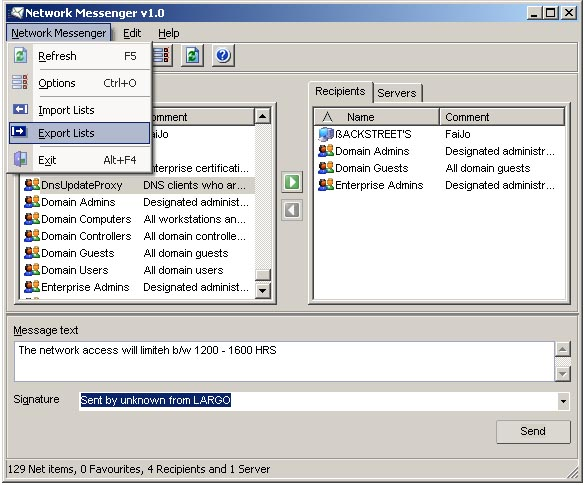 Network Messenger Screenshot