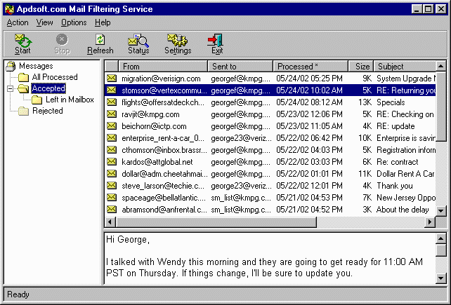 Apdsoft Mail Filter and Forwarder Screenshot