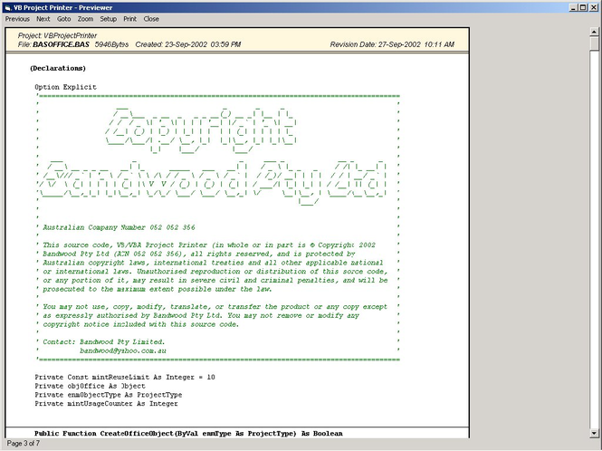 VB/VBA Code Printer System Screenshot