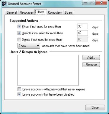 Unused Account Ferret Screenshot 1