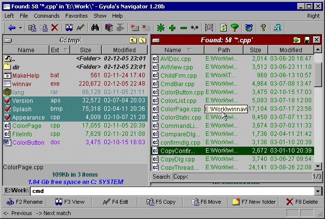 Gyula's Navigator Screenshot