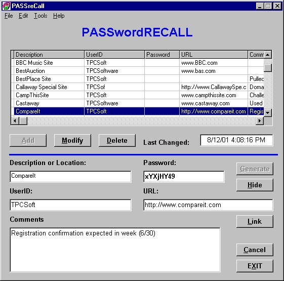 PASSreCall Screenshot