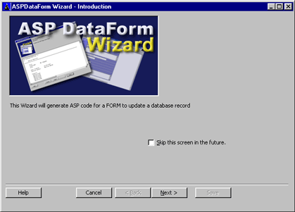 ASPDataForm Wizard Screenshot 2