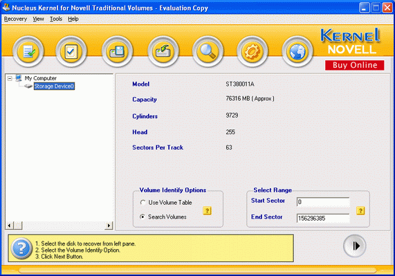 Novell Data Recovery Screenshot
