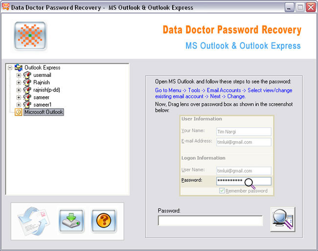 Outlook Password Recovery Tool Ex Screenshot 1