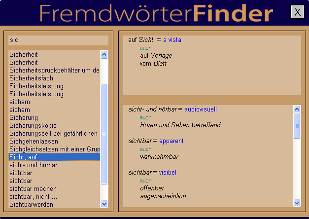 FremdwörterFinder Screenshot