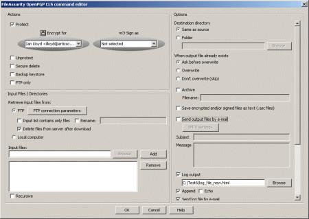 FileAssurity Open PGP command line Screenshot
