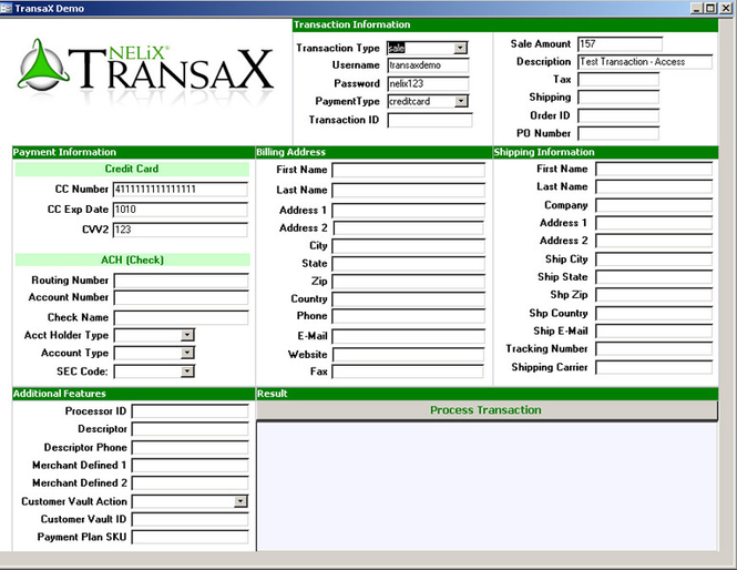 NELiX TransaX FleXPort Code Library Screenshot