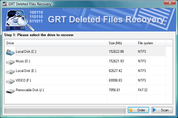 GRT Deleted Files Recovery for FAT Screenshot