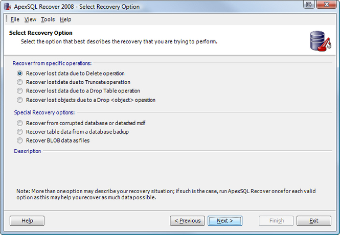 Apex SQL Recover Screenshot 1