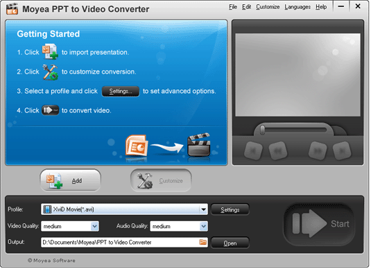 PowerPoint to FLV Converter Screenshot