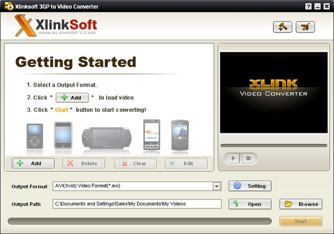 Xlinksoft 3GP to Video Converter Screenshot