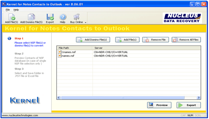 Lotus Notes Contacts to Outlook Screenshot