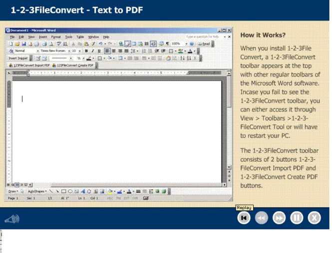 123FileConvert word to PDF converter Screenshot