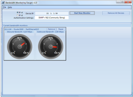 Bandwidth Monitoring Gauges Screenshot