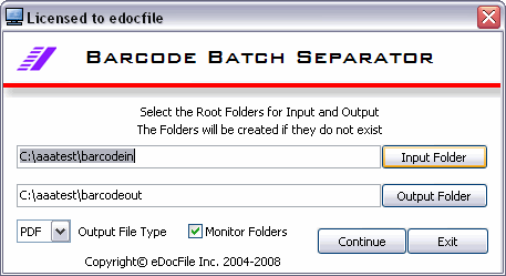 Barcode Batch Separator Screenshot