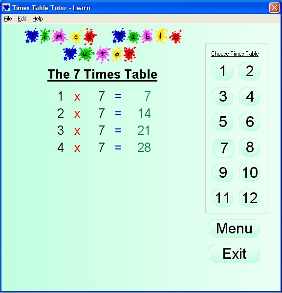 Speaking Times Table Tutor Screenshot
