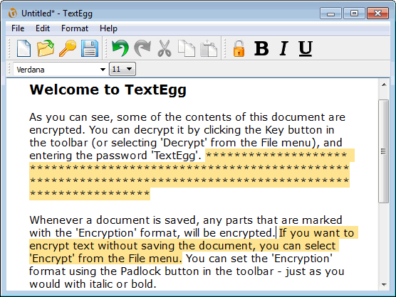 TextEgg Simple Encryption Software Screenshot 1