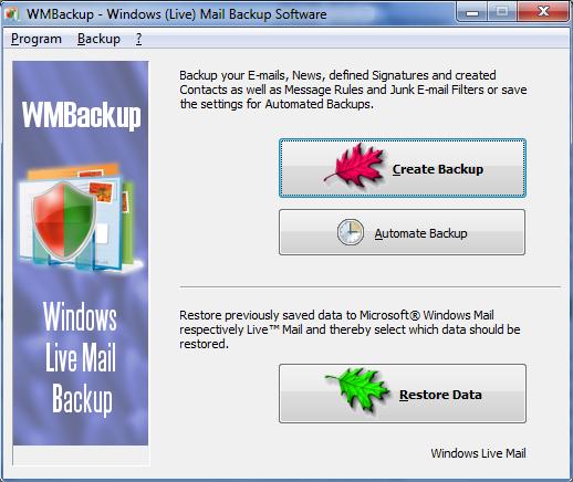 WMBackup - Windows Live Mail Backup Software Screenshot